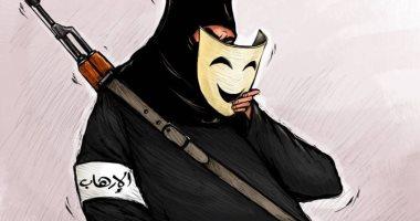 الإرهاب يحاول تغيير شكله بارتداء أقنعه جديدة في كاريكاتير اماراتى