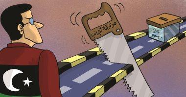 المرتزقة الأجانب تحاول عرقلة الشعب الليبى قبل وصوله إلى صندوق الانتخابات فى كاريكاتير إماراتى