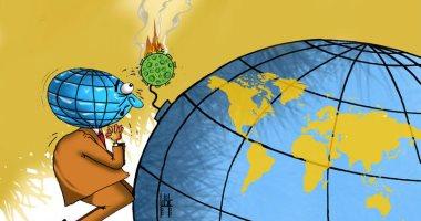 الأرض تتوسل لكورونا لعدم تفجير الكوكب بمزيد من الإصابات فى كاريكاتير اماراتى
