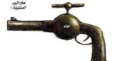 """المياه """"سلاح الحروب المستقبلية"""" فى كاريكاتير سعودى"""