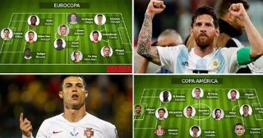 كريستيانو رونالدو وميسى يقودان التشكيل الأفضل فى يورو 2020 وكوبا أمريكا