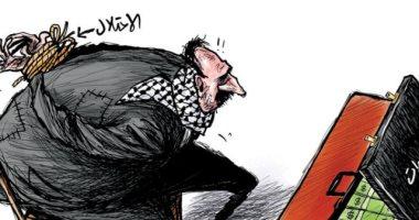 الاحتلال الإسرائيلي سبب عدم وصول المساعدات للفلسطينيين في كاريكاتير الشرق الأوسط