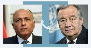 """وزير الخارجية لـ""""جوتيريش"""": نرفض الإجراءات الأحادية المتصلة بملء سد النهضة"""