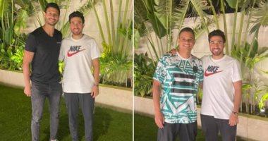 تريزيجيه فى صور مع محمد الشناوى وسعد سمير خلال تواجده بالقاهرة