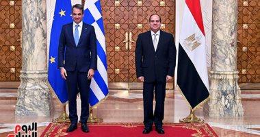 الرئيس السيسى يستقبل رئيس وزراء اليونان