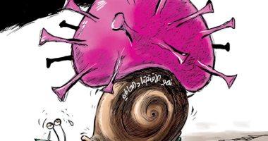السعودية نيوز |                                              فيروس كورونا يتسبب فى أزمة اقتصادية عالمية فى كاريكاتير سعودى