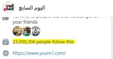 """شكرًا لكم.. صفحة """"اليوم السابع"""" على فيس بوك تتخطى 23 مليون متابع"""
