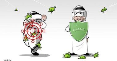 السعودية نيوز |                                              فيروس كورونا يستهدف الأشخاص الغير محصنين باللقاح فى كاريكاتير سعودى