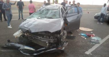 مصرع شخص وإصابة 5 آخرين فى حادث انقلاب سيارة بطريق السويس الصحراوى