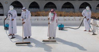 السعودية نيوز |                                              مراحل تنظيف وتطهير سطح الكعبة المشرفة فى 20 دقيقة.. ألبوم صور