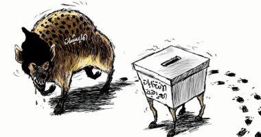 السعودية نيوز |                                              المليشيات تحاول عرقلة الإنتخابات فى العراق فى كاريكاتير سعودى