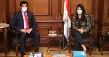 سفير قطر خلال لقائه وزيرة التعاون الدولي