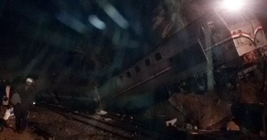 بالفيديو والصور.. إصابة 61 شخصا فى حادث انقلاب قطار بنى سويف