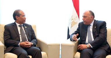 سامح شكرى ووزير الدولة السنغافورى للشئون الخارجية يبحثان العلاقات الثنائية