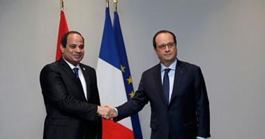 الرئيس السيسى يصل مطار القاهرة لاستقبال فرانسو هولاند