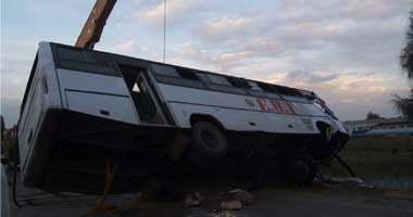 إصابة 9 أطفال فى حادث انقلاب أتوبيس مدارس بمركز قوص بقنا