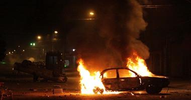 نشوب حريق بسيارة ضابط شرطة إثر انفجار عبوة ناسفة ببورسعيد