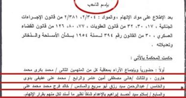 أوراق حكم الاعدام فى قضية عرب شركس