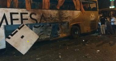 الاتوبيس المحترق بسبب الإنفجار