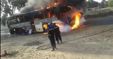 حريق يلتهم حافلات مدرسية فى منطقة جازان بالسعودية