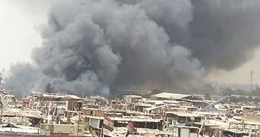 """حريق """"سوق الجمعة"""" التهم 20 كشكا ومحلا.. و""""الإطفاء"""" تحاول السيطرة  620168103853452harek"""