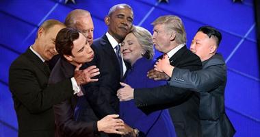 """بالصور.. شاهد كيف سخر نشطاء من أوباما وكلينتون فى كوميكس """"الحضن الحضن"""""""