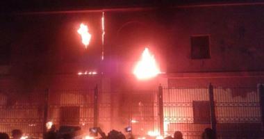 ملثمون يشعلون حريقا بنقطة شرطة الهانوفيل فى الإسكندرية