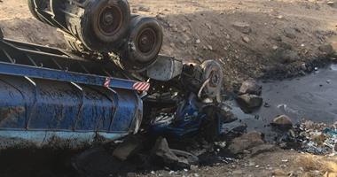 إصابة ضابط شرطة فى انقلاب سيارته على الطريق الصحراوى ببنى سويف