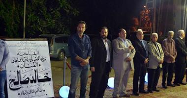 الزعيم عادل إمام ونجله رامى ويوسف شعبان ومحمود سعد فى عزاء خالد صالح