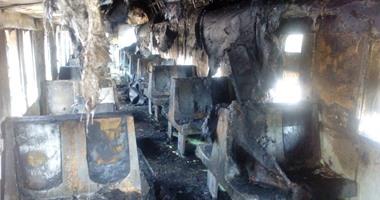 السيطرة على حريق اندلع بعربة قطار فى كفر الزيات بسبب ماس كهربائى دون إصابات