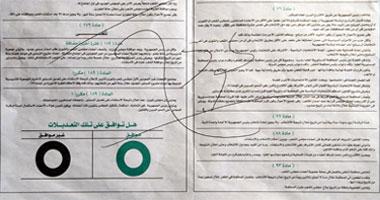 شكل بطاقة الاستفتاء على التعديلات الدستورية والمكان المخصص حتى تقول لا S320111417625