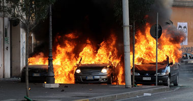 هجوم على المصارف وحرق السيارات فى تظاهرات إيطاليا