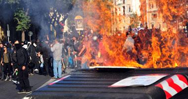 """إحراق مبنى تابع لوزارة الدفاع فى روما على هامش تظاهرة للـ""""غاضبين"""""""