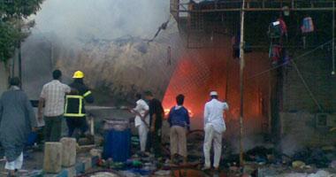 بالصور.. حريق هائل يلتهم سوق ليبيا بمطروح.. والخسائر بالملايين