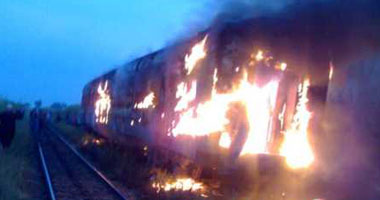 """عاجل :اندلاع النيران قطار """"القاهرة"""