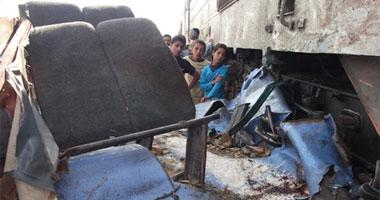 للحظه اصطدام القطار بحافلة الاطفال