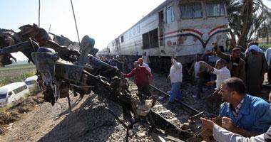 جانب من حادث قطار أسيوط