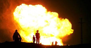 اندلاع حريق هائل فى أنبوب للغاز بمحافظة البصرة بالعراق