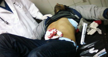 المهندس حابى الشهاوى بعد إصابته بطلق نارى خلال الاشتباكات