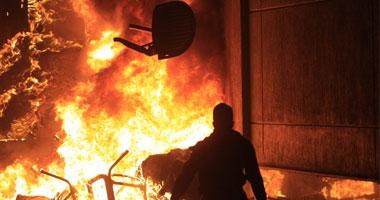 أهالى يشعلون حريقاً مركز شرطة