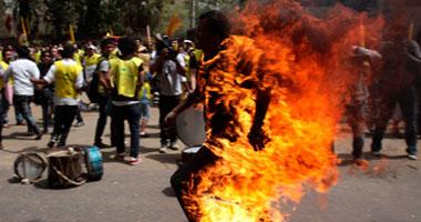 محتج من التبت أشعل النار فى نفسه