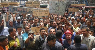 """عمال بشاى للصلب يقطعون  طريق """"القاهرة - إسكندرية الصحراوى"""""""