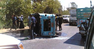 إصابة 8 أشخاص فى تصادم سيارة نقل بميكروباص فى شبرا الخيمة