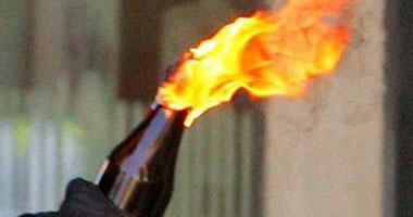 """مجهولون يحرقون """"ونش"""" للمرور بعد قذفه بزجاجات مولوتوف أسفل الدائرى"""