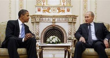 الرئيس روسى فلاديمير بوتين مع أوباما