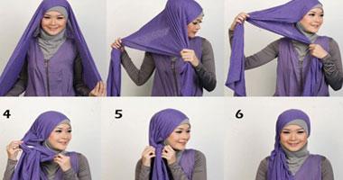 17283770c0563 بالصور.... 15 طريقة جديدة ومميزة للف الحجاب تناسب الشهر الكريم ...
