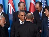 بالفيديو والصور.. الرئيس الروسى بوتين يتوقف لمصافحة أوباما بقمة العشرين