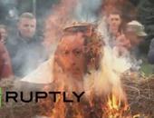 """تظاهرات ضد تركيا فى روسيا وحرق دمية """" قش"""" لأردوغان فى القرم"""