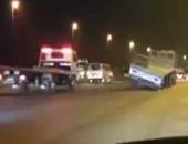 """تداول فيديو على""""فيس بوك""""لمقطورة تسير بدون عجلات خلفية أعلى الطريق الدائرى"""