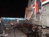 إصابة 7 ركاب فى خروج عربة قطار عن القضبان بالمنيا وتوقف الحركة